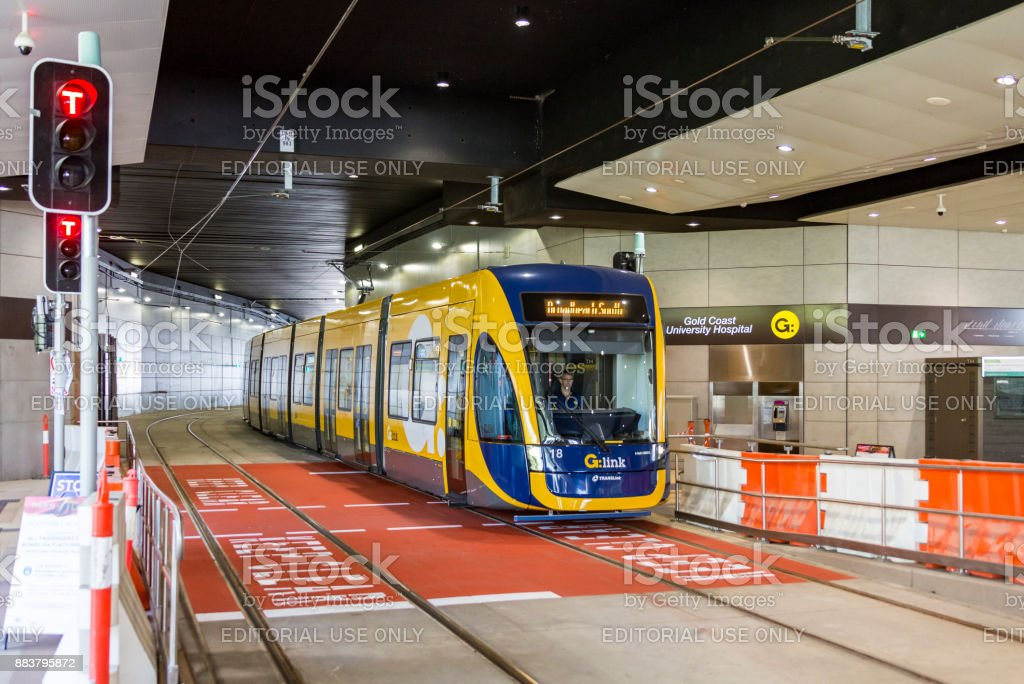 New G:link tram passing through Gold Coast University Hospital tunnel stock photo