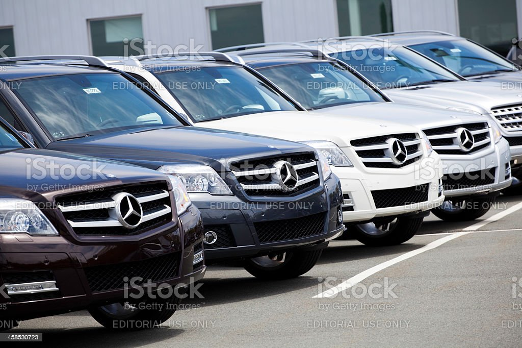 New GLK-Class Mercedes Vehicles in a Row at Car Dealership stock photo