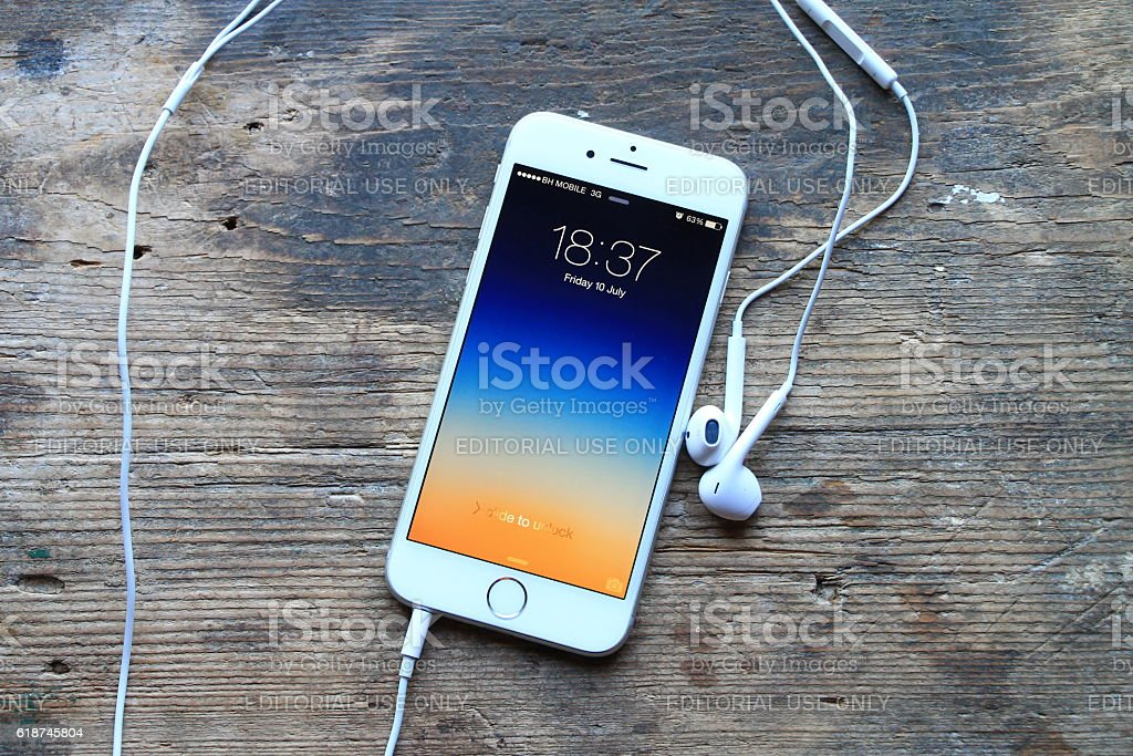 New gray iphone 6 on wooden table stock photo