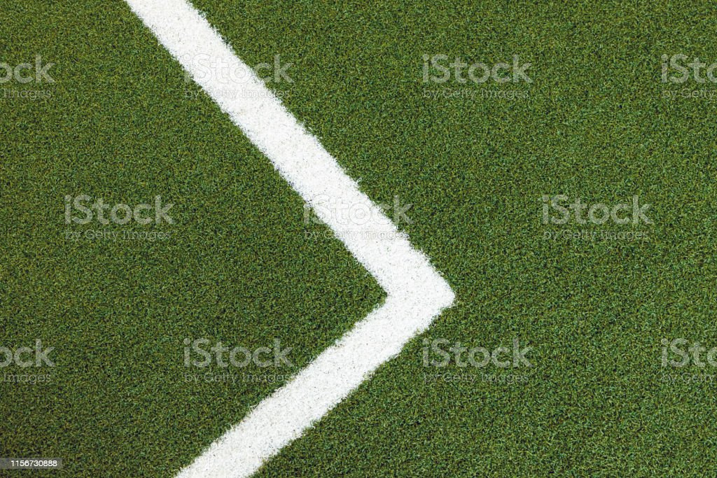 New Green Turn With White Line Background And Texture Fake Grass Carpet For Football Indoor Floor Stock Photo Download Image Now Istock