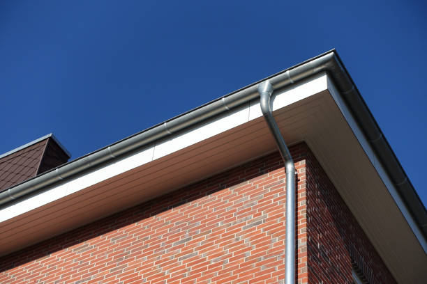 New gutter and downpipe stock photo