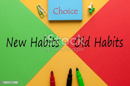 Colour sheets red vs. green with text New Habits Old Habits Choice and various stationery. Business concept.