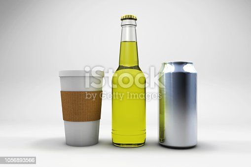 3D drink can, coffee and beer bottle illustrations on white background. No name, blank packages.