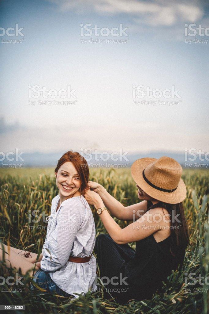 New hairstyle in a field zbiór zdjęć royalty-free
