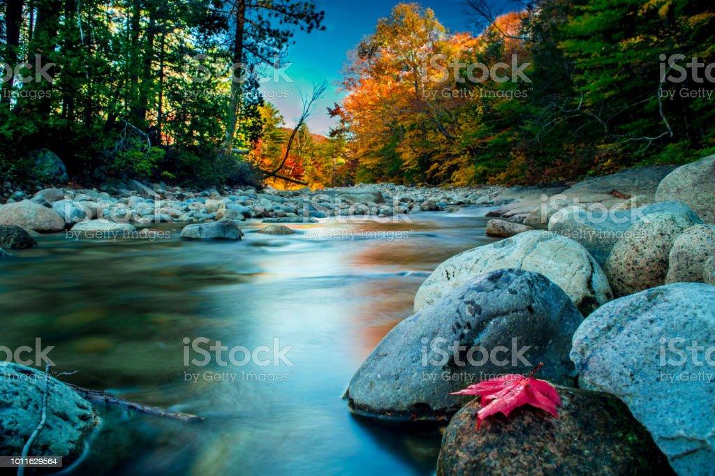 New Hampshire During Autumn - Pemigewasset River stock photo
