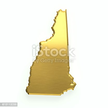 1056103150istockphoto New Hampshire Golden Map. 3D Render Illustration 615113200