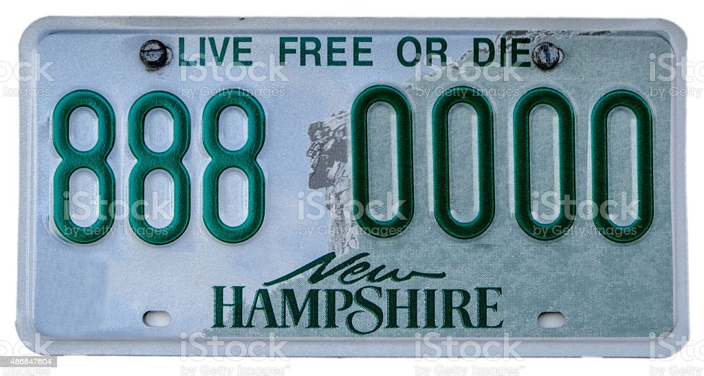 New Hampshire licence plate with fake number stock photo
