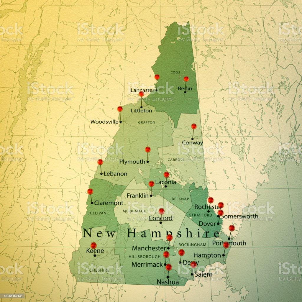 New Hampshire Karte Platz Städte Zylinderstift Vintage – Foto
