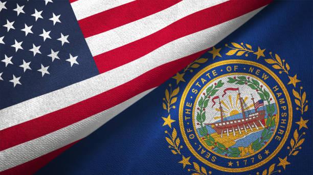 Estado de New Hampshire e Estados Unidos duas bandeiras realations juntos têxtil pano tecido textura - foto de acervo