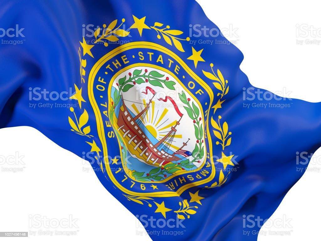 Bandeira do estado de New hampshire close-up. Bandeiras de locais dos Estados Unidos - foto de acervo