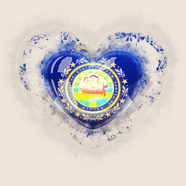 Bandeira do estado de New hampshire em um coração de grunge. Bandeiras de locais dos Estados Unidos - foto de acervo