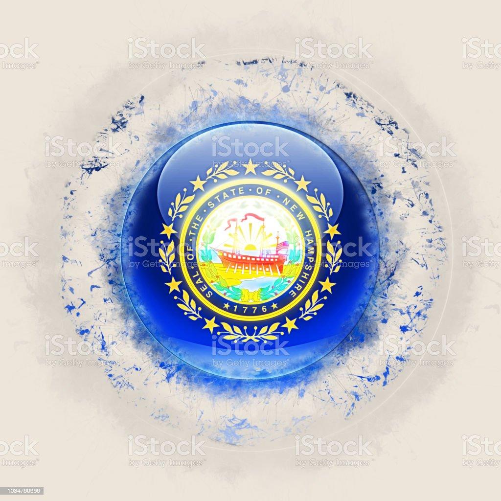 Bandeira do estado de New hampshire em um ícone do grunge redondo. Bandeiras de locais dos Estados Unidos. Ilustração 3D - foto de acervo