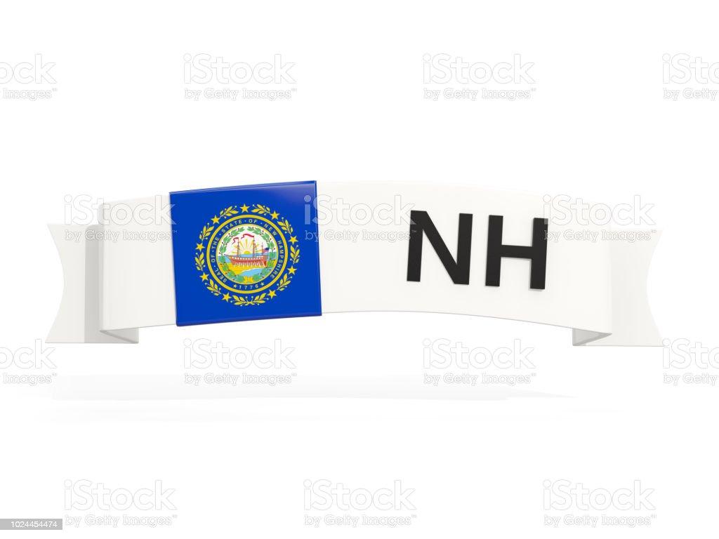 Bandeira do estado de New hampshire no banner com abreviatura postal isolada no branco - foto de acervo