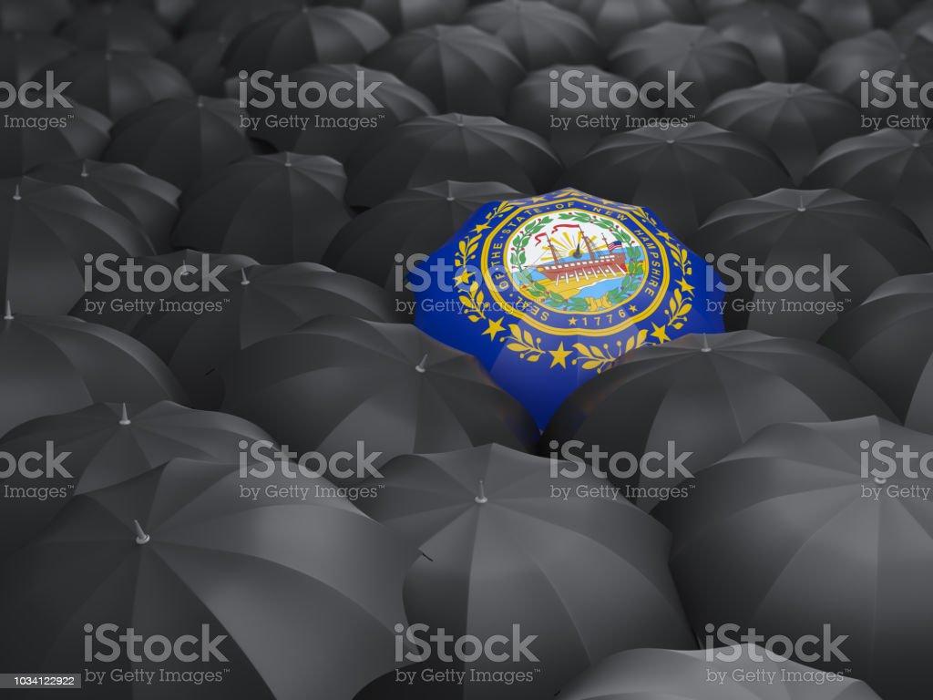 Bandeira do estado de New hampshire no guarda-chuva. Bandeiras de locais dos Estados Unidos - foto de acervo