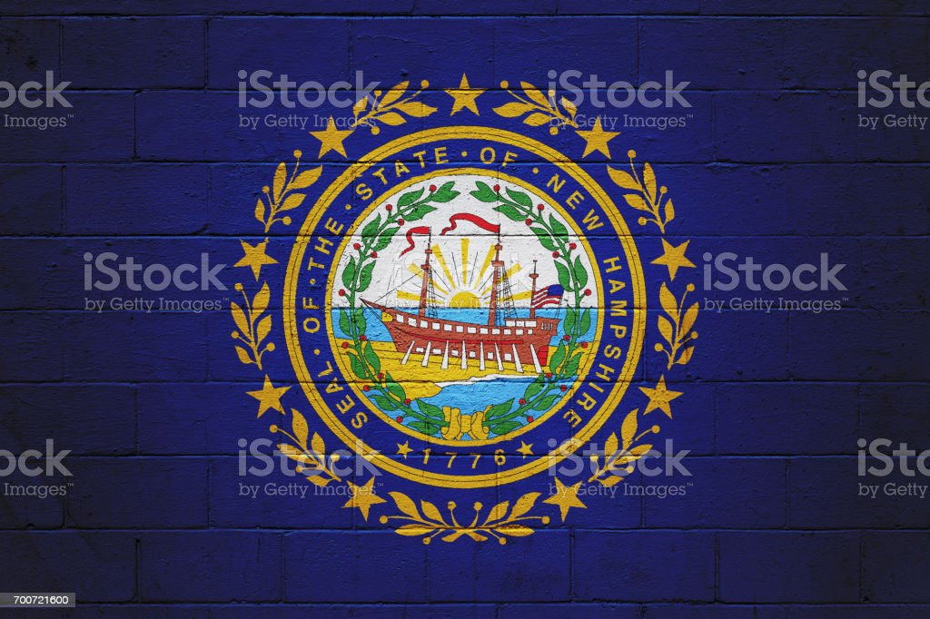 New Hampshire state flag painted on a wall stock photo