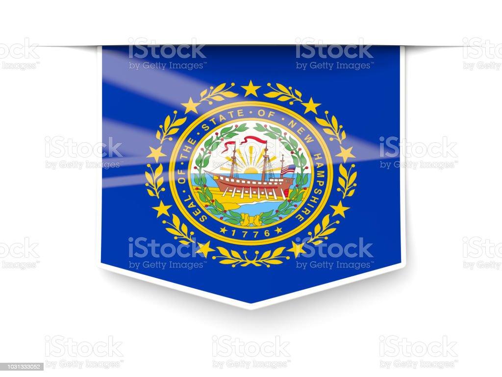 Bandeira do estado de New hampshire square rótulo com sombra. Bandeiras de locais dos Estados Unidos - foto de acervo