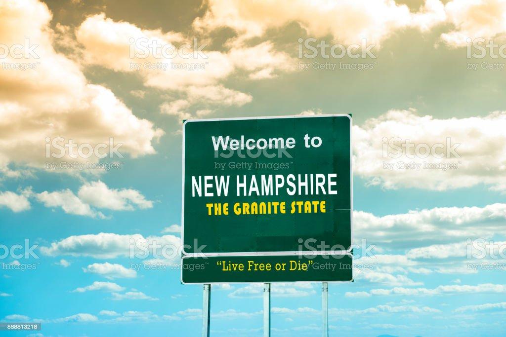 New Hampshire, sinal de estrada bem-vindo - foto de acervo