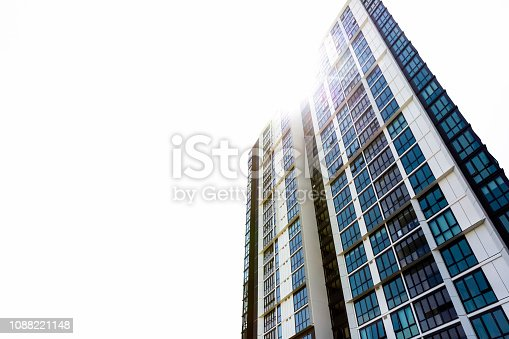 New high rise apartment building, white background with copy space, Wolli Creek, Australia, full frame vertical composition