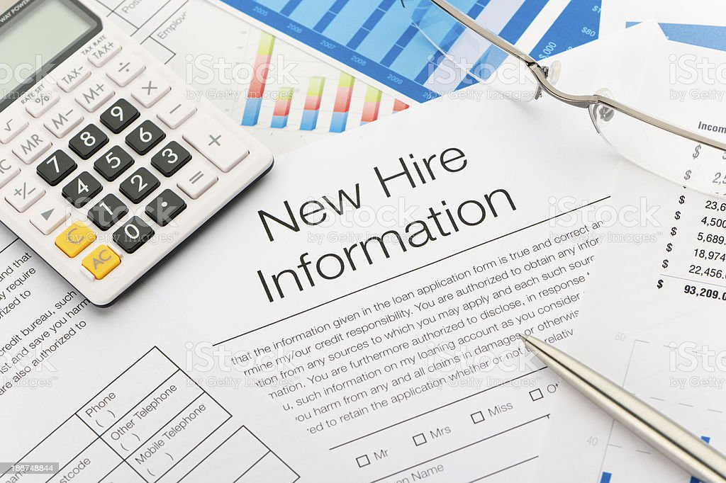 New hire information employment form royalty-free stock photo