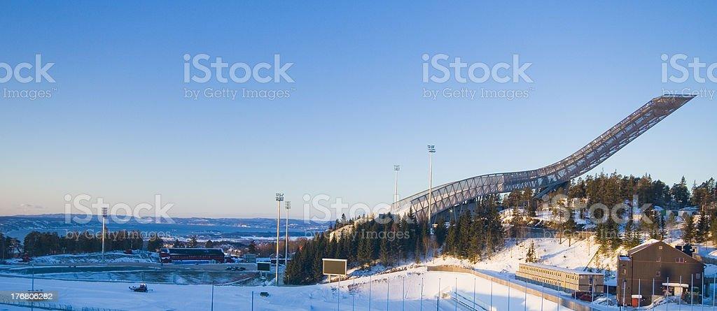 New Holmenkollen ski jump in Oslo Norway stock photo