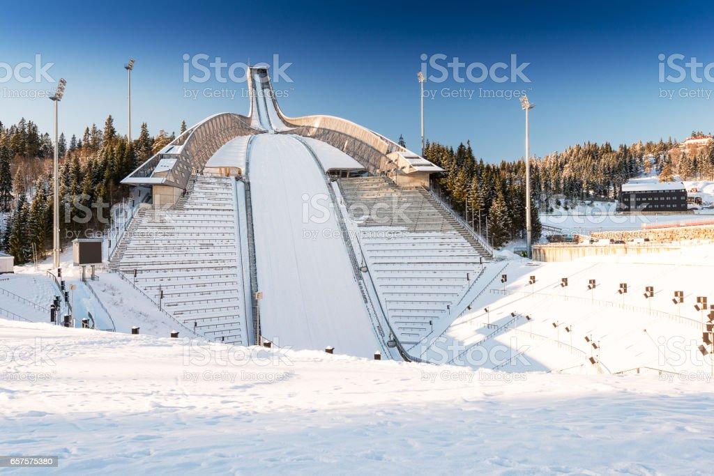 New Holmenkollen ski jump in Oslo stock photo