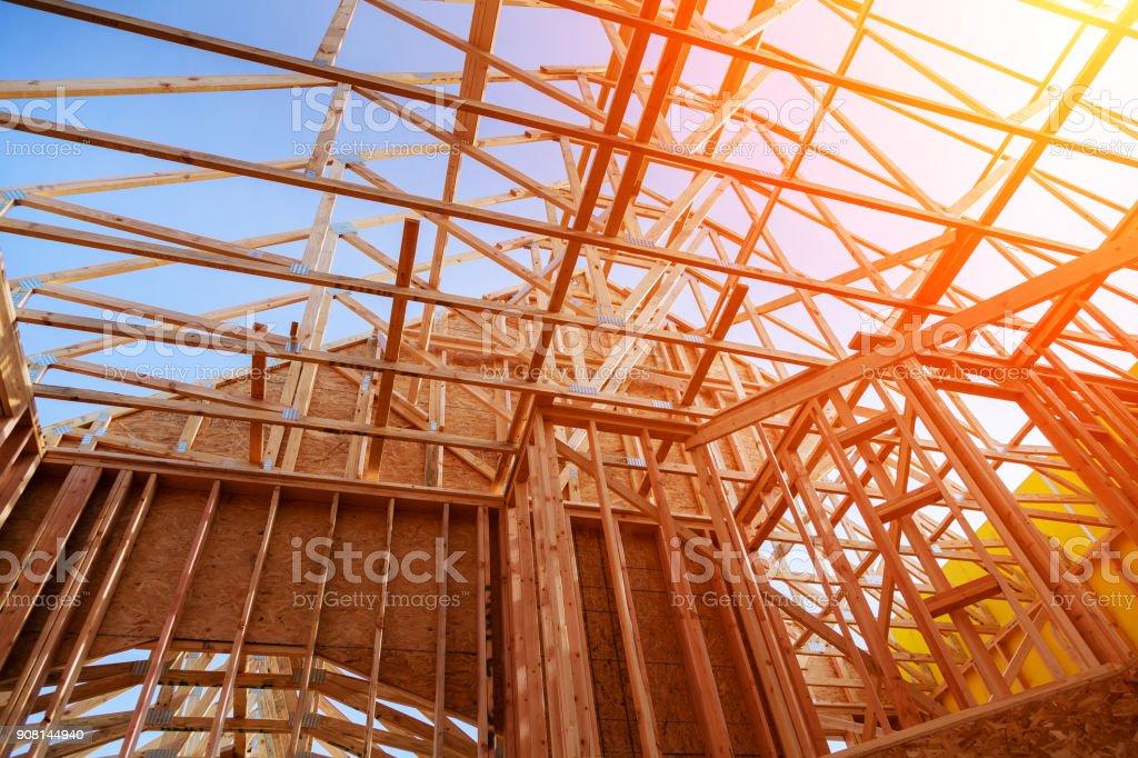 Neue Heimatkonstruktion Bauen Sie Mit Holz Dachstuhl Pfosten Und ...