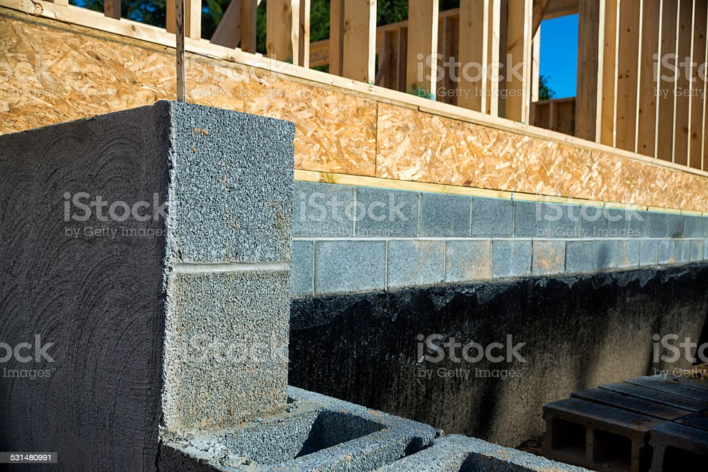New Home Construction Foundation and Waterproofing stock photo