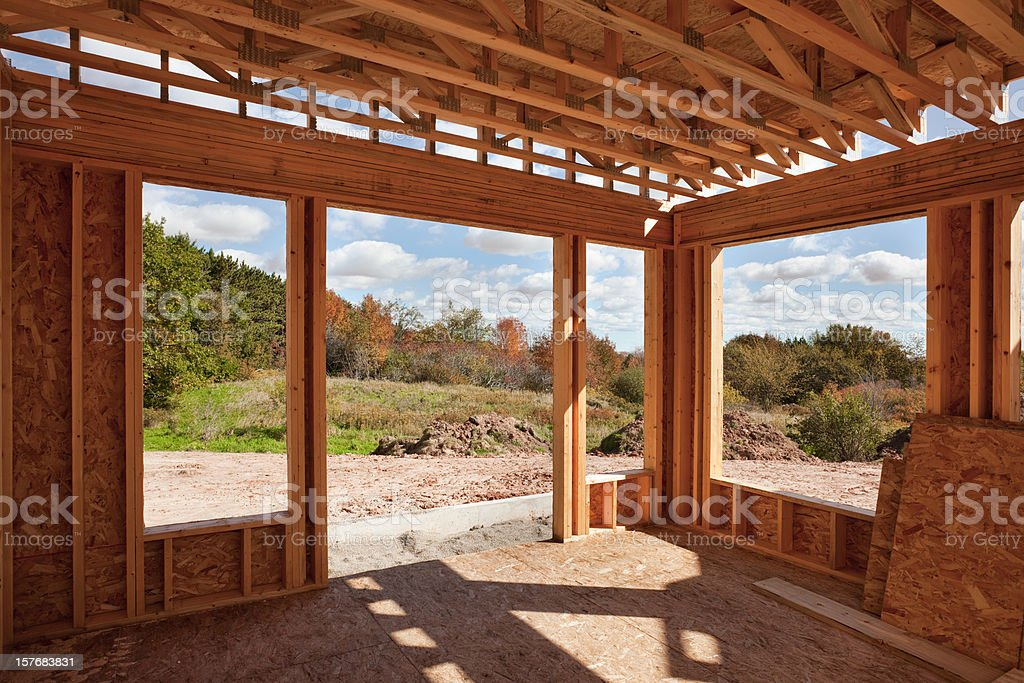 New Home Construction; Framed Room With a View stock photo
