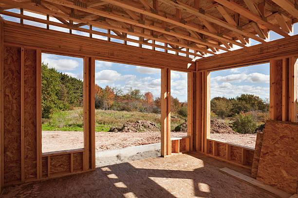 neues zuhause-konstruktion; gerahmte zimmer mit ausblick - plus stock-fotos und bilder