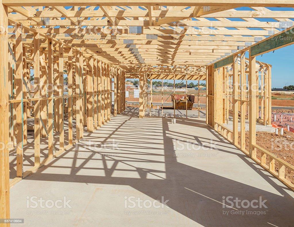 New home construction framing stock photo