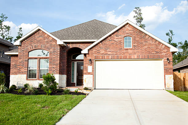 New Home construction in growing subdivision stock photo