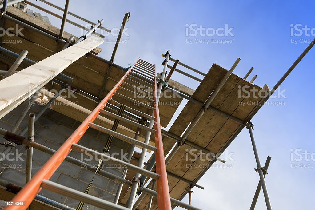 New Home Construction Site Scaffolding with Ladder royalty-free stock photo