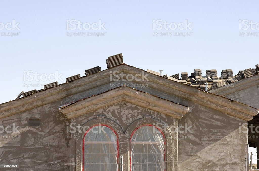 New Home Construction, Stucco stock photo