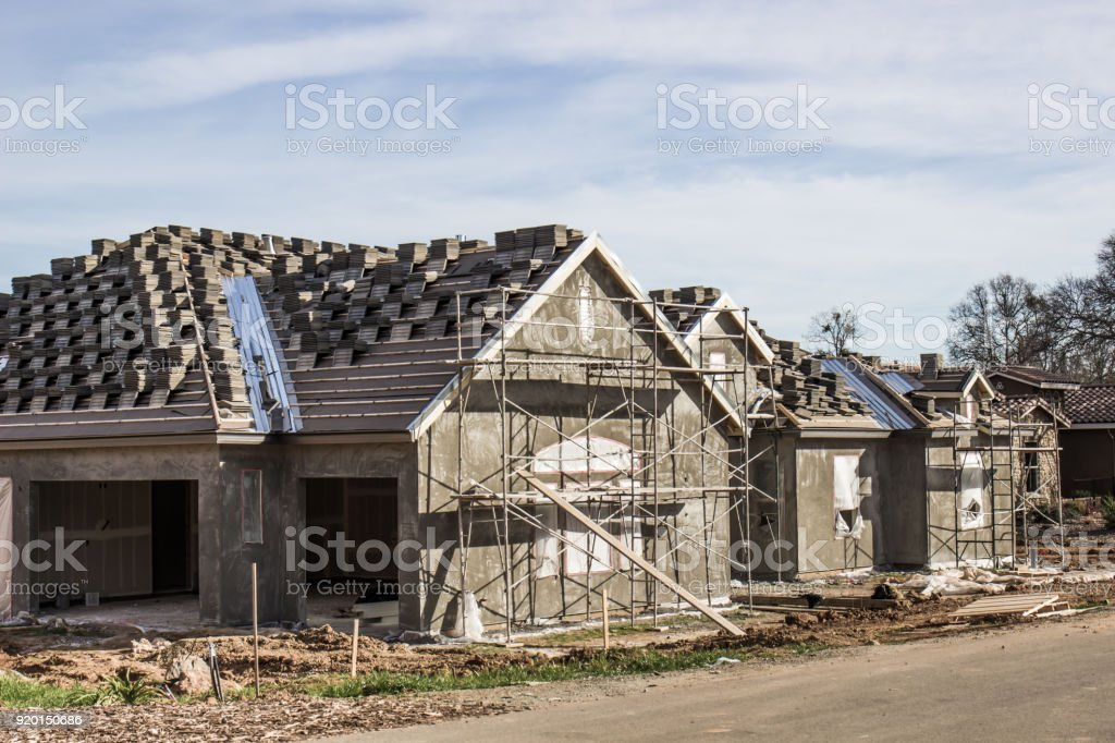 New Home Construction With New Stucco stock photo