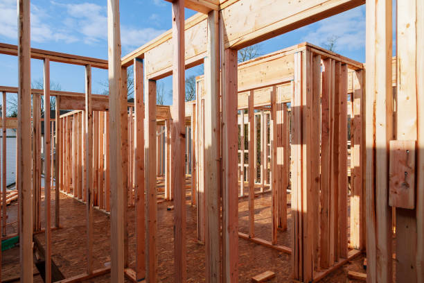 new home construction with wooden house frame - petticoat stock pictures, royalty-free photos & images
