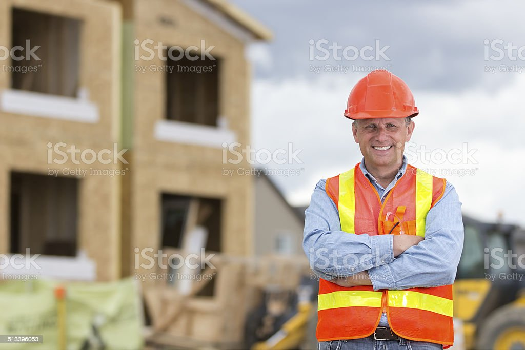 New Home Construction Worker stock photo