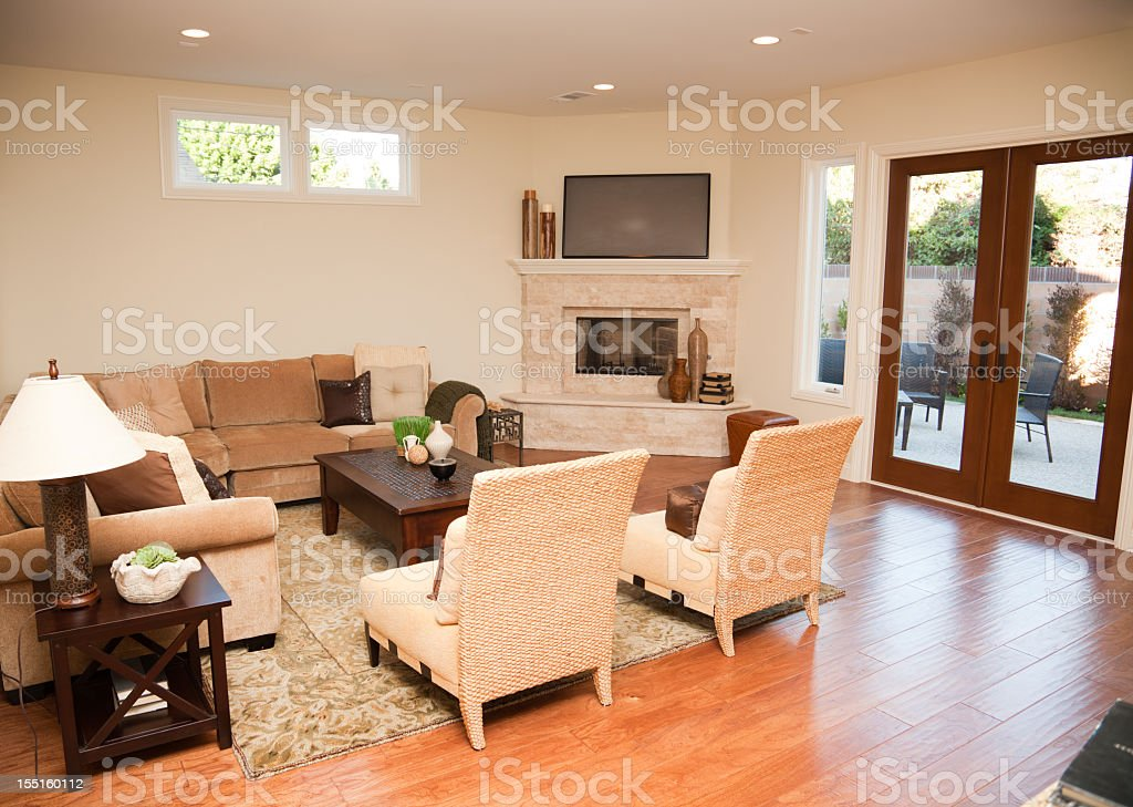 New Home Interior Tv Room royalty-free stock photo