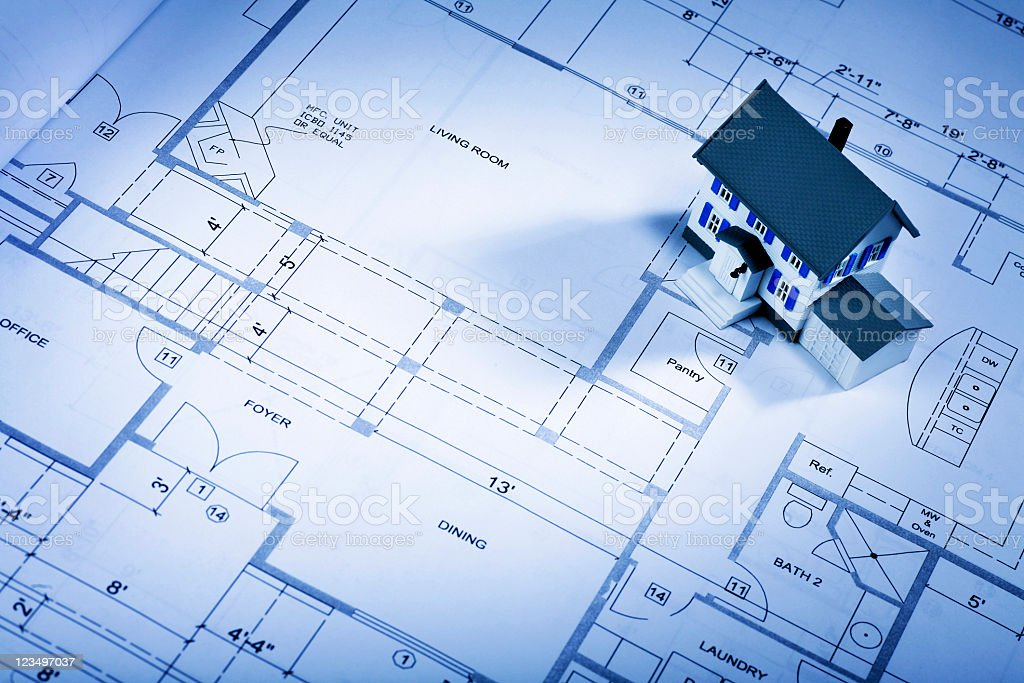 New home on blueprints royalty-free stock photo