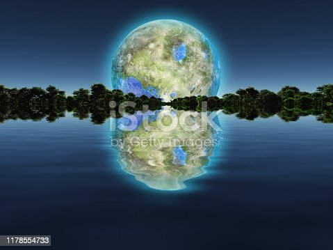 Surreal digital art. New Home. Green trees in the water. Giant terraformed moon in the sky