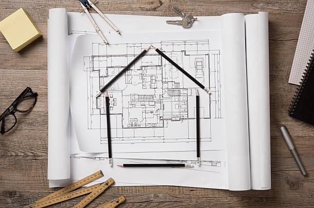 Nueva casa proyecto - foto de stock