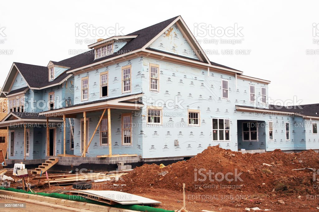 New home under construction stock photo