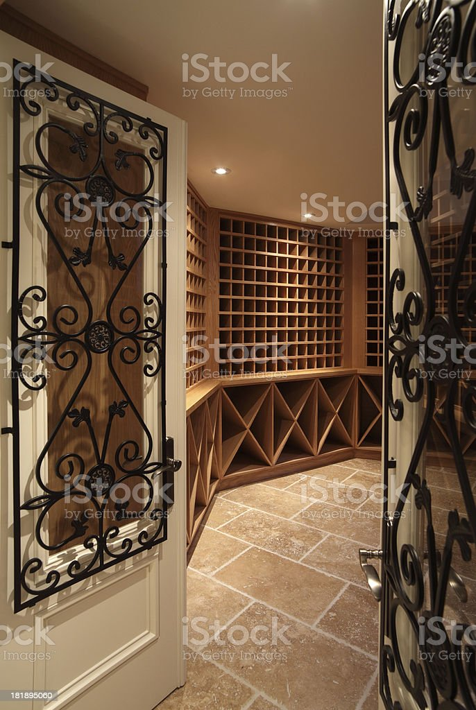 New Home wine cellar stock photo