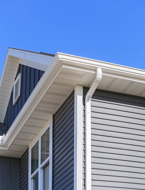 New home with gutters and soffit stock photo