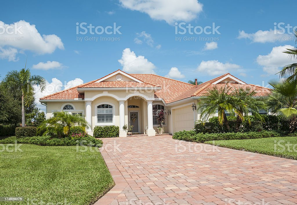 New Home with Tropical Foliage stock photo