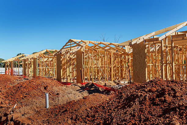 New homes being constructed on a site stock photo
