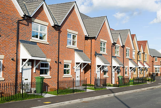 new homes - terraced houses stock photos and pictures