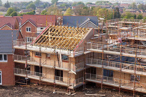 New homes under construction. stock photo