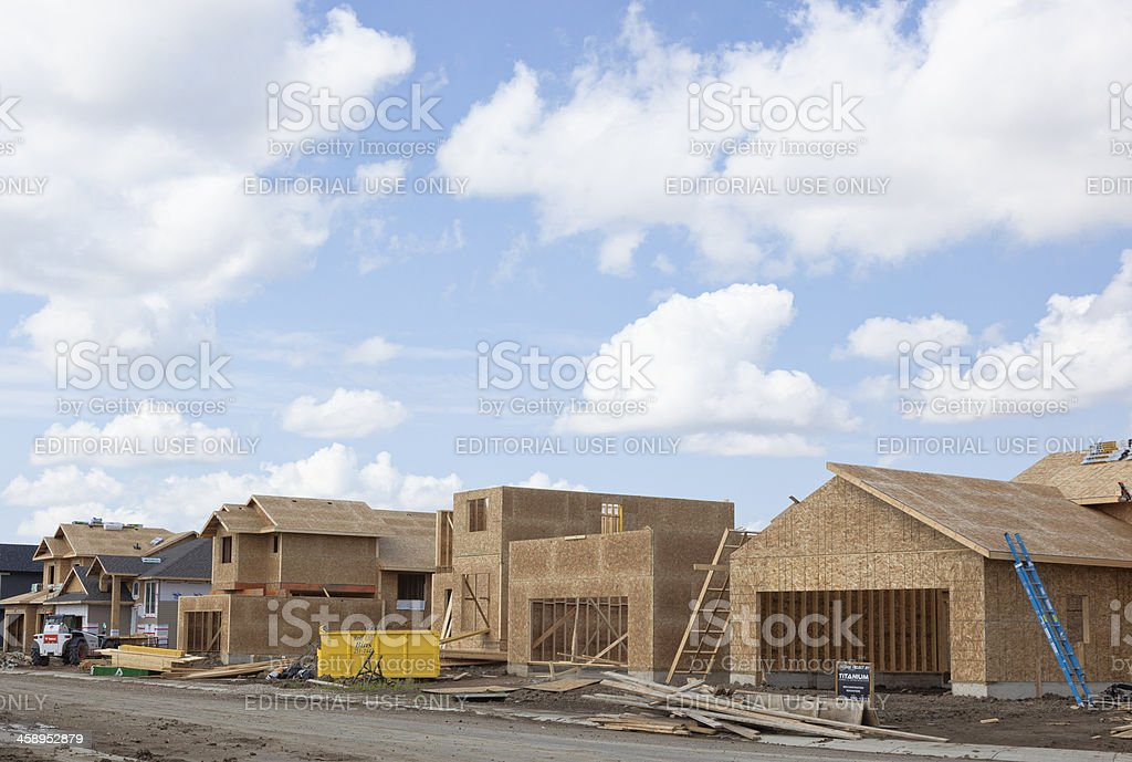 New Homes Under Contruction in Saskatoon Neighbourhood royalty-free stock photo