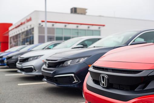 Dartmouth, Canada - January 10, 2021 - New model Honda Civic sedans at a dealership.