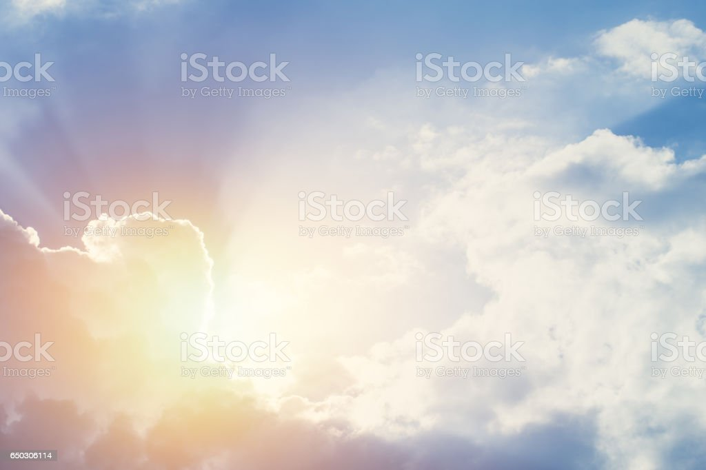 new hope or heaven sky, beautiful summer blue bright cloudy sky with sunset light ray. stock photo